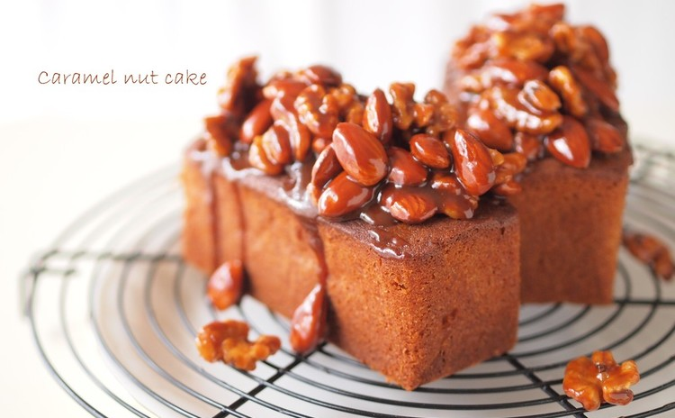 秋の味覚満載!甘い香りがたまらない♡とろ~りキャラメルナッツケーキ