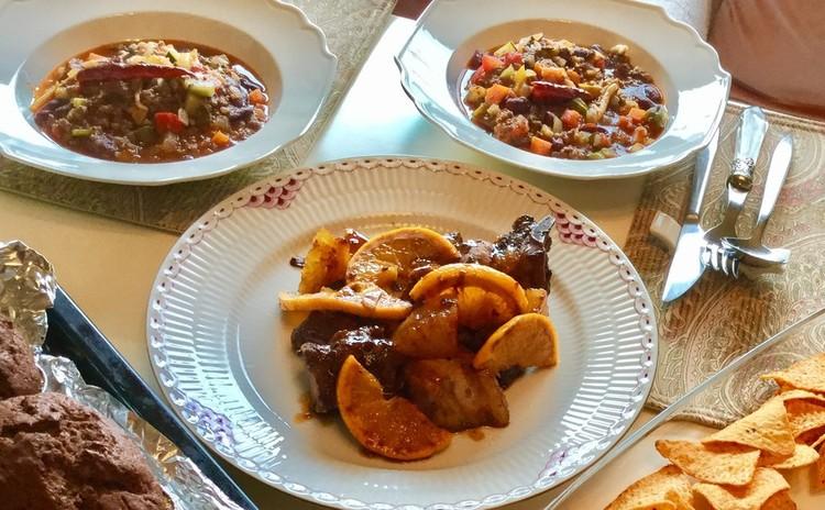 ☆ホットなチリコンカン♪スペアリブのオレンジ煮&かぼちゃのニョッキ