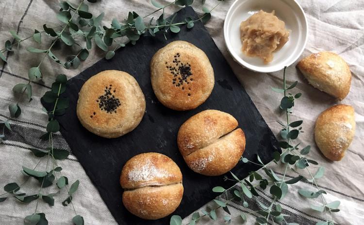 紅茶酵母パン!プチフランス&レモン香る白あん平焼きパン