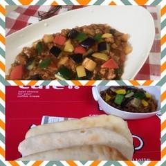 爽やかな酸味と香りのナン&ビタミンたっぷり夏野菜キーマカレー