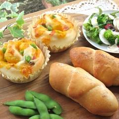 絶品!塩バターパンと枝豆ロール ホシノ天然酵母で(ニース風サラダ付き)