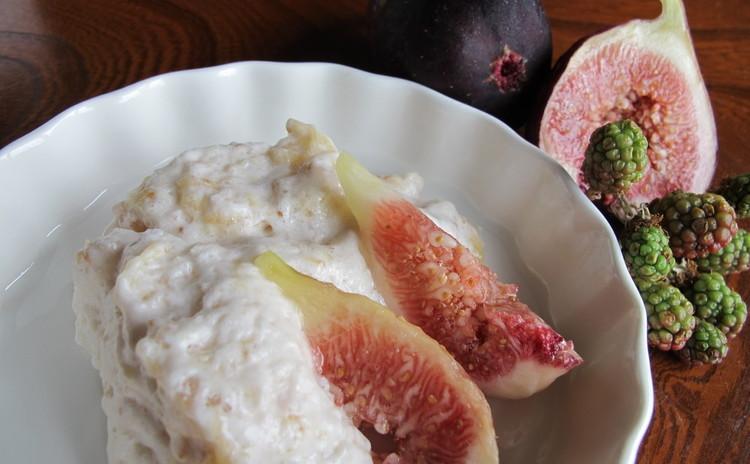 梨のリゾットとミラノ風カツレツ、ドルチェはイチジクのムース