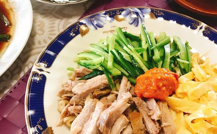 パリパリ春巻、手打ち和え麺、蒸し魚