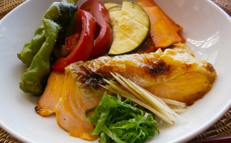 鮭の焼き浸し、夏野菜の焼き浸し