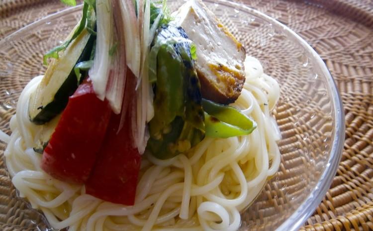 素麺、夏野菜のせ