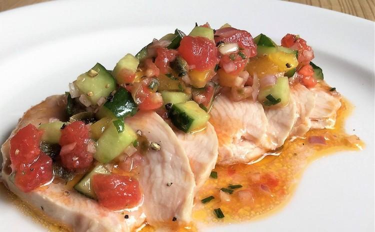 鶏肉の冷製、ラビゴットソース