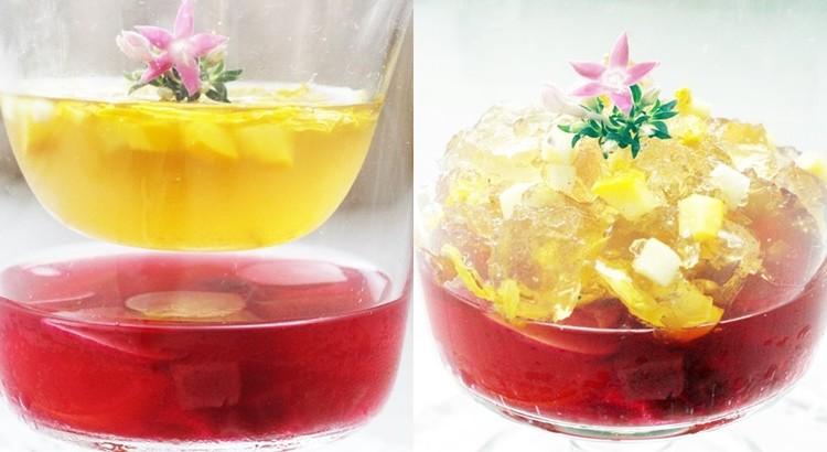 2色のジェラティーナ・ディ・ ヴェルドゥーラ~赤と黄金の野菜のジュレ