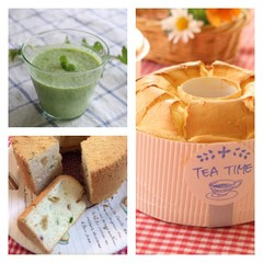 シフォンケーキ2種、紅茶シフォンとベーコンレタスシフォン&枝豆スープ