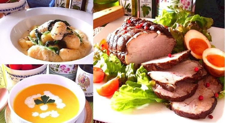 塊肉が豪華な豚肉の紅茶煮 手作りニョッキやカボチャのポタージュ