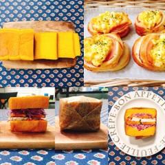 初心者~中級向け かぼちゃ角食パンとハムたまごパン