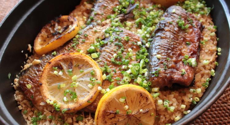 秋刀魚と焼きレモンのご飯