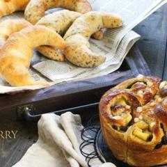 【ランチ付】秋味♪林檎と紅茶のスイーツパンと発酵バターのクレッセント♡
