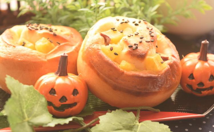 ハロウィンに!ふかふか~( ˘ω˘ )かぼちゃブレッド&さつまいもパン