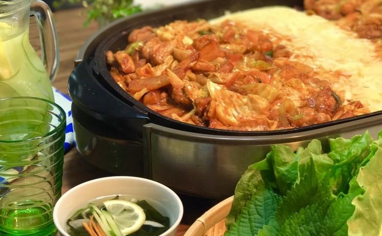 今、大人気!チーズタッカルビを 韓国風チャーハンまでコースで作ります。