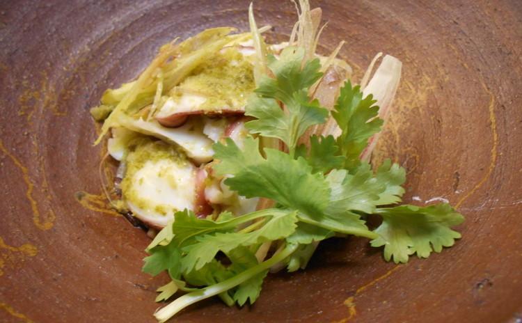 蛸と茗荷の和え物ネギと山椒風味