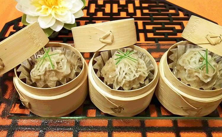 香港スタイル・マンゴープリンと皮なしシューマイ ♬