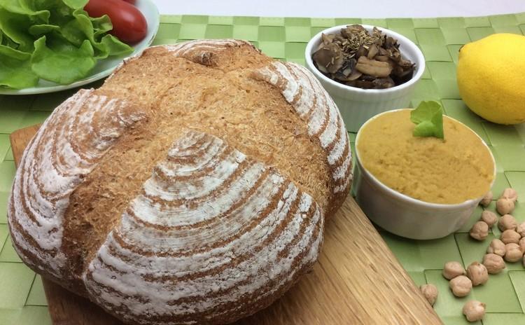 【野生酵母】石臼全粒粉カンパーニュで「フムスのサンドイッチ」 作り