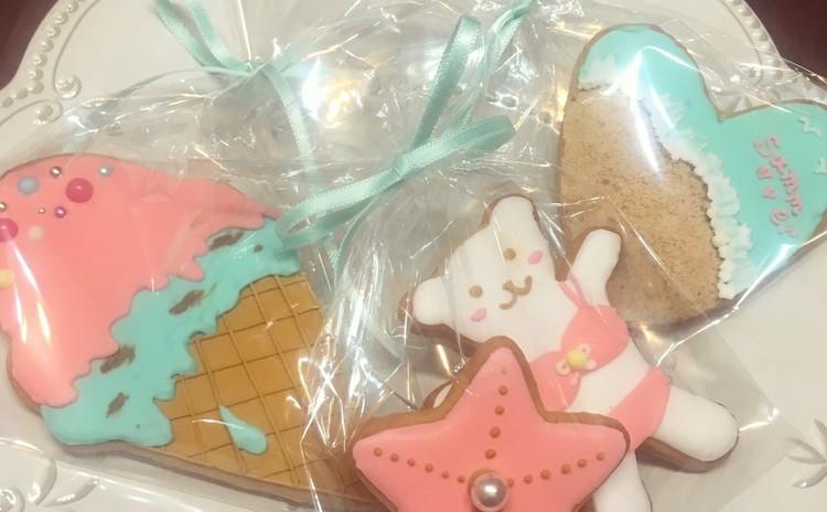 8月限定☆コーラルピンクとミントブルーでつくる夏のアイシングクッキー