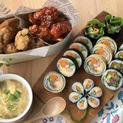 キンパ  プルコギキンパ 韓国ヤンニョムチキン、卵スープなど秋のお弁当