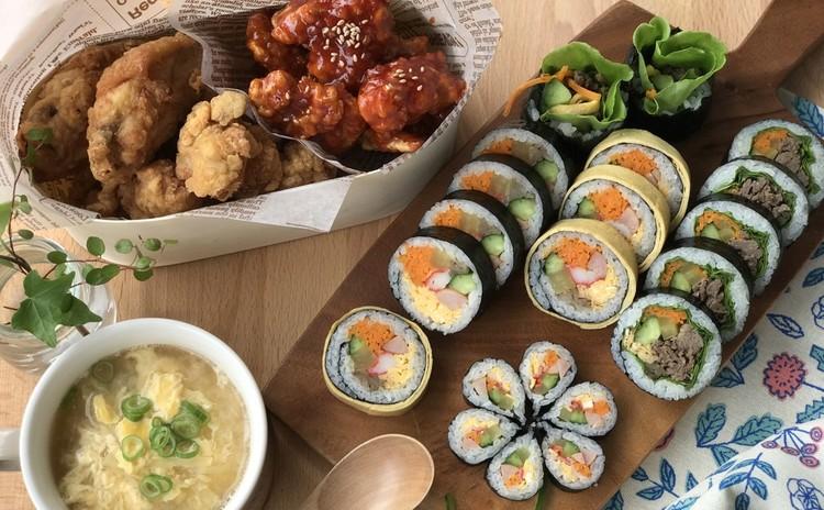 キンパ  プルコギキンパ 韓国ヤンニョムチキン、卵スープなど韓国お弁当