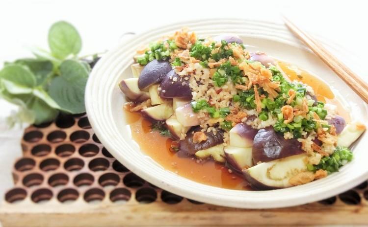 レンジ蒸し茄子の香味サラダ
