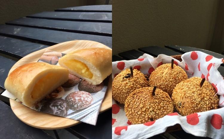 パンランチ付!天然酵母使用!2種類焼こう!アップルナッツとクリームパン