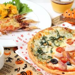 クリスピーピザでハロウィンメニューの献立♪かぼちゃプリンとエビのグリル