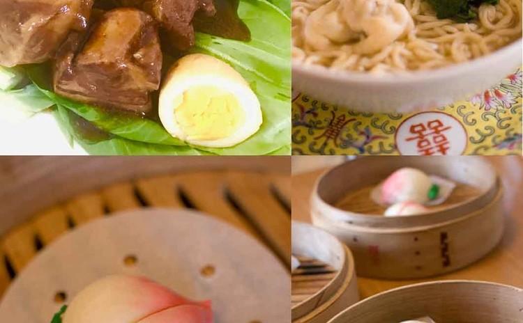 桃饅頭、蝦ワンタン麺、トンポーローを作りましょう♪