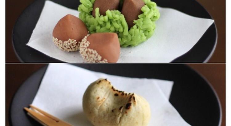 秋の和菓子「栗きんとん」と「いが栗」練切り製