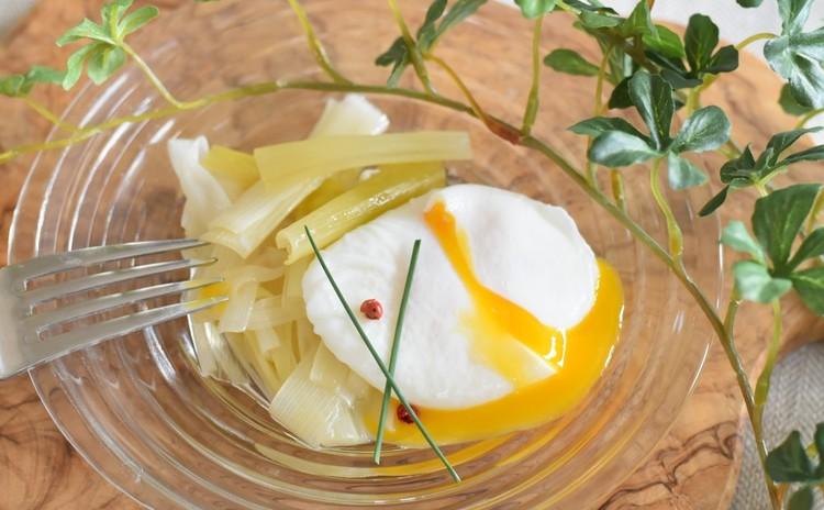 長ネギのマリネと卵のポシェ