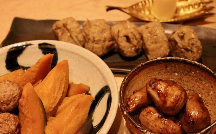 リクエスト【基本に戻ろう!】里芋の煮っころがし、かぼちゃの煮物、ふわふわ肉団子