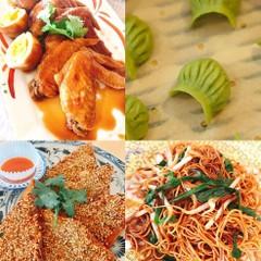 韮の蝦蒸し餃子、蝦多士、豉油炒麺、豉油鶏、エッグタルト