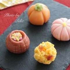 オリジナル練り切り餡で作る、秋の練り切り〜紅葉〜