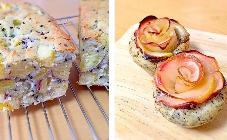 小麦,卵,乳不使用!ホクホクさつま芋パンとバラのようなリンゴマフィン