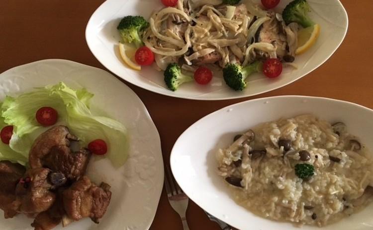 秋のおもてなし料理!マーマレード風味スペアリブ、鮭のカレン風、きのこのリゾット,梨と生ハムのサラダ、パンプキンタルト