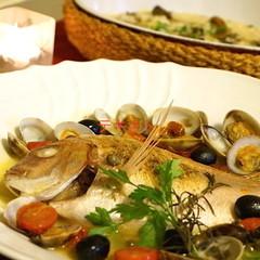 ホームパーティやクリスマスに魚1尾アクアパッツァ&牡蠣のリゾット!