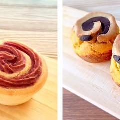 小麦,卵,乳不使用!紫芋パンとカボチャマフィンdeハロウィン