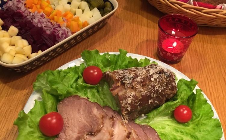 【フィンランドのクリスマス料理】豚肉のハム、人参のグラタン他