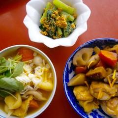 """""""野菜の蒸らし炒め""""で♪鶏肉と根菜のうま煮とじゃがいも入りすいとん"""