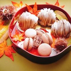 秋の ホクホクもんぶらん と チョコレートのまかろん