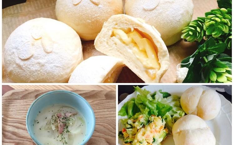 林檎のパン&白パンでランチ★白菜のミルクスープ