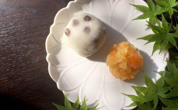 """きんとん製の""""深山路""""、和菓子の定番""""豆大福""""と酒饅頭"""