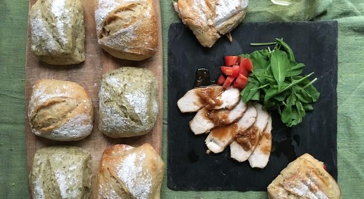酒粕酵母パン!高加水チャバタ、プレーン&青のり、和風酵母チキンパニーニ