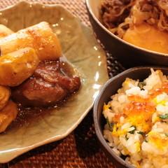 煮物の基本、肉じゃが鶏肉と長芋の煮物、黄菊とイクラご飯、銀杏煎餅