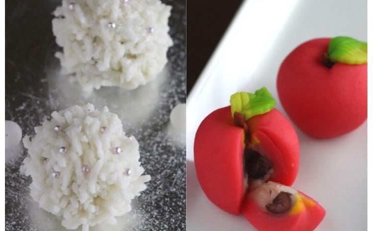 12月/「雪のhana❄」(薯蕷生地)と「姫林檎」(練切り製)