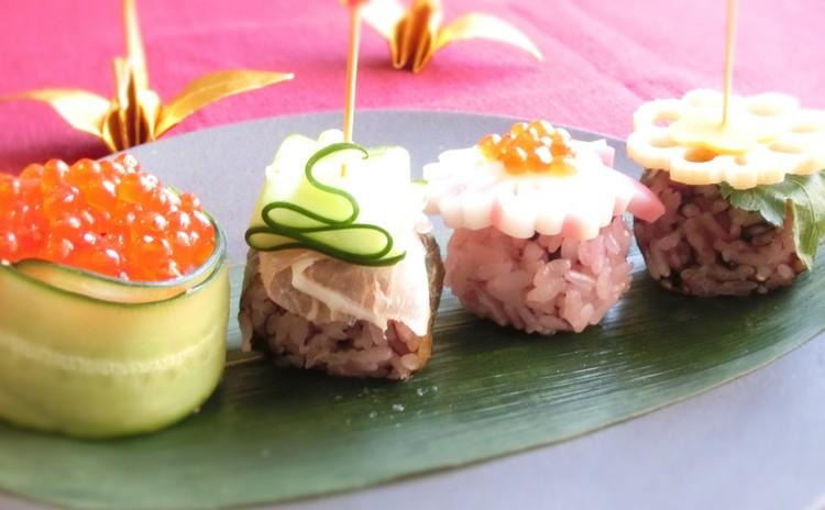 手毬寿司と海苔巻きのカナッペ風