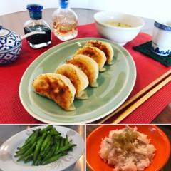 実習型レッスン♪皮から手作り焼き餃子&キヌガサダケのスープ&青菜炒め♪
