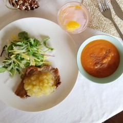 【食物繊維たっぷりメニュー】ポークソテー、寒天サラダ、寒天パンチなど