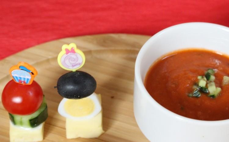 食べるサラダスープガスパチョとパーティーを演出するピンチョス