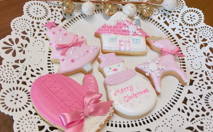 【11月限定】雪つもる、ピンクで彩るクリスマス☆アイシングクッキー